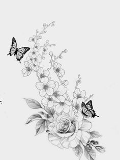Butterfly Thigh Tattoo, Butterfly With Flowers Tattoo, Flower Tattoo Shoulder, Butterfly Tattoo Designs, Hip Thigh Tattoos, Flower Thigh Tattoos, Wildflower Drawing, Wildflower Tattoo, Beautiful Small Tattoos