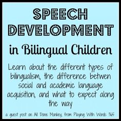 This is a good resource describing bilingualism and the stages that can occur. This includes an explanation of the silent period and language loss. It also looks into code switching and the myths and realities of being bilingual. This is beneficial for a school based SLP because it gives explanations on the differences between the types of bilingualism and give definitions on what will occur when a student is going through ESL. It all does the SLP a guide to seeing what the stages of…