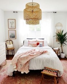 Saving this dreamy boho bedroom to our mood board ASAP. #InMyDomaine   photo and desig