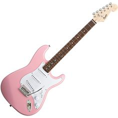 Fender Squier Bullet Stratocaster Electric Guitar w/Tremolo Pink... ($100) ❤ liked on Polyvore featuring music, fillers, guitars, instruments and accessories