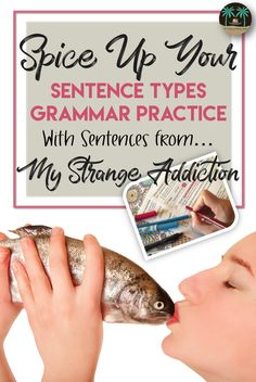 Sentence types worksheet | Sentence construction practice - Engaging sentences about the reality television show My Strange Addiction. Middle school and high school grammar activity.
