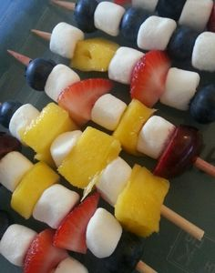 Fun Fruit Idea! Make fruit and marshmallow kebabs with your favorite fruits. I used blueberries, cherries, mango & strawberries for these. Grapes also work very well.