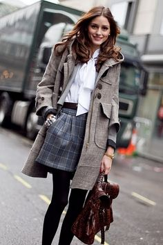 plaid skirt + bow blouse + wool coat + tights. #oliviapalermo 17 6