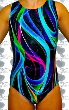 Holographic Blue Abstract Gymnastics Leotard with Free Scrunchie in Sporting Goods | eBay