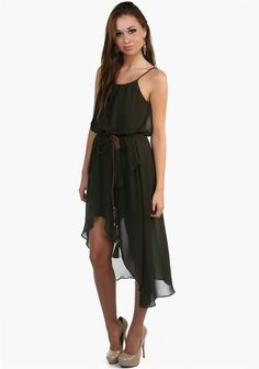 Push aside Aphrodite there's a new Goddess in Town.This dress features an all around Goddess design.Braided straps and belt gives off a girly aura.A criss-cross hemline and an elastic band on the mid-waist to create a loose yet figure flattering design.Chiffon material-Olive Color-49