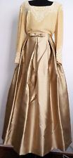 ESCADA COUTURE Vintage Long Gown Evening Dress Gold Embroidered Beads Sequin 12