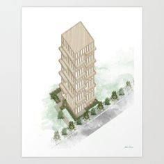 Architecture, illustration, wood, tower, skyscraper, aquarelle.