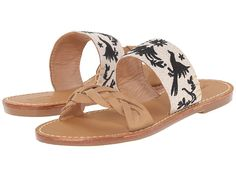 Soludos Braided Toe Strap Flat Slide leather otomi embroidery, vachetta .75h sz7 89.00 4/16