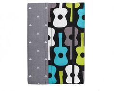 Diario cubierto de tela - guitarras, cuaderno de guitarra, guitarra diario, tela diario, diario de la música, guitarra diario, suministros de la escuela de guitarra