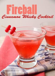 Red Hot Cinnamon Whiskey Cocktail  Ingredients:  2 oz Fireball Cinnamon Whisky 3 oz Ginger Ale Splash Grenadine Garnish: Hot Tamale Cinnamon Candies  Directions:  Pour cinnamon whisky, ginger ale, and grenadine over ice. Garnish with Hot Tamale cinnamon candies skewered on a toothpick. Serve immediately.