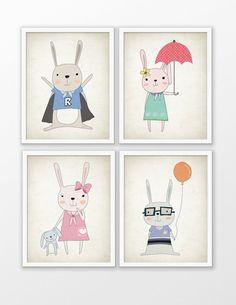 Cute Rabbit Nursery Print Set Of 4  Rabbit Art  by QuantumPrints