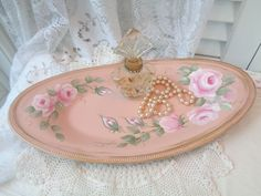 daSommers VICTORIAN ROSE TRAY hp chic shabby vintage cottage hand painted pink #VINTAGESILVERPLATEMETALTRAY