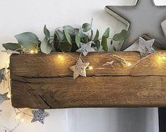Solid oak 6 beam coffee table. | Etsy Oak Sleepers, Breeze Block Wall, Indoor Range, Rustic Floating Shelves, Centre Pieces, Fireplace Mantels, Free Uk, Solid Oak, Beams