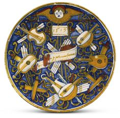 Workshop of Master Giorgio Italian, Gubbio, 1519 DISH WITH MUSICAL INSTRUMENTS