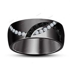 Black & White Simulated Diamond 18k Black Gold Finish Men's Wedding Band…