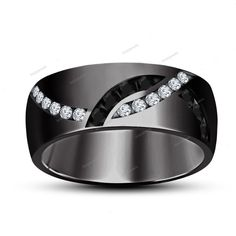 Black & White Simulated Diamond 18k Black Gold Finish Men's Wedding Band…
