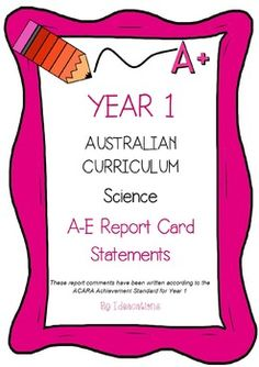 Australian Curriculum Report Comments Year 1 - English Semester 2 This file contains 80 A-E report card comments for Year 1 Semester 2 English organised under the headings: Receptive Mode and Productive Mode. Elementary Music, Elementary Schools, Year 4 Maths, Student Self Evaluation, Anecdotal Notes, Report Card Comments, Health And Physical Education, Report Writing, Thing 1