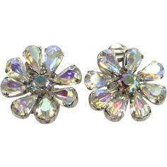 Vintage Austria Aurora Borealis Rhinestone Silvertone Clip Earrings Stylized Floral Signed