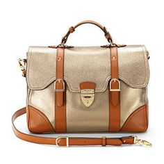 Mollie Satchel Handbag in Metallic Pebble & Smooth London Tan - Luxury Leather Wallets, Leather Handbags, Cufflinks - British Luxury Leather Goods from Aspinal of London