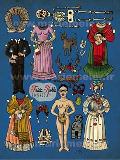 Muñeca de papel Frida Kahlo pequeña impresión del arte