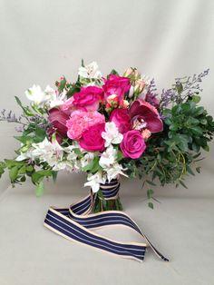 Fuschia, white and navy blue lush bouquet