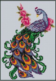 Items similar to Peacock Tapestry Pattern on Etsy Pony Bead Patterns, Peyote Stitch Patterns, Loom Patterns, Beading Patterns, Embroidery Hoop Crafts, Ribbon Embroidery, Cross Stitch Embroidery, Cross Stitch Rose, Cross Stitch Flowers