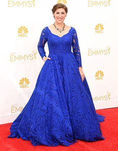 Emmys 2014 Red Carpet  What the Stars Wore. Big Bang Theory s Mayim Bialik  looked beautiful in a vibrant blue lace gown with long sleeves ... 1946490e17a8