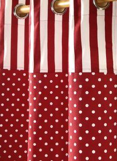 Homescapes Kindervorhang M�dchen Kinderzimmer �senvorhang Dekoschal Polka Dots 2er Set rot wei� 117 x 137 cm (Breite x L�nge je Vorhang) 100% reine Baumwolle