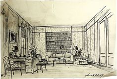 """Library with Chinese Chippendale armchair. Pen and pencil on tracing paper. Signed """"AH""""."""
