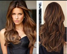 Chocolate brown hair, with rich auburn and Carmel highlights