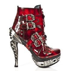 M.MAG005-C3 Red New Rock Platform High Heeled Ankle Boots w/ Cross