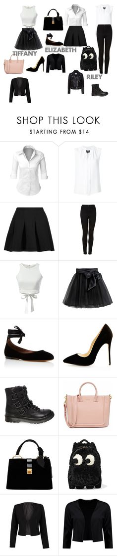 """3 types of school uniform"" by poppy-c-robson ❤ liked on Polyvore featuring LE3NO, Derek Lam, T By Alexander Wang, Topshop, WithChic, Little Wardrobe London, Tabitha Simmons, Steve Madden, Miu Miu and Anya Hindmarch"