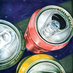 foreshotening,i like how the colours of red has gave a good affect to the cans