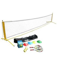 """HOME Tennis KIT 19"""" (Le Petit Tennis) (Ages 5 to 6) by Le Petit Tennis. $78.99. The perfect tennis kit to play at home on the driveway or in the garden. Includes 2 racquets (19 inches for ages 5 to 6), 4 cones, 1 inflatable LPT ball and 3 Red and Yellow Transitional Balls (stage 3) and a super light 18ft net super fast to set up. Net size: 18ft x 3ft (adjustable 2ft up to 4 ft high). Check out the companion items at: www.lepetittennis.com The red and yellow transitional ..."""