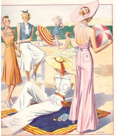 pajamas beach sewing pattern with halter shirt collar and open back. Top open back and/or wide pants pattern option. 1930s Fashion, Miami Fashion, Retro Fashion, Vintage Fashion, Gothic Fashion, Victorian Fashion, Fashion Fashion, Madame Gres, Beach Attire