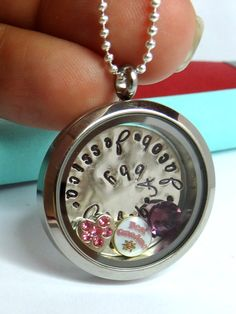 Gorgeous Floating Locket is Hand Stamped with kids names - Great gift for Grandma & Moms we LOVE!!