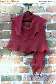 Burgundy Linen Scarf Shawl Wrap Stole claret by Initasworks