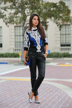 leather trousers with silk sweater