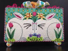 Marla's needlepoint bunnies, designer unknown