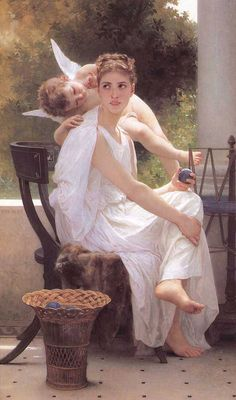 """allthepainting: """"Work interrupted,By Artist: William-Adolphe Bouguereau, oil painting reproduction """" William Adolphe Bouguereau, Renaissance Kunst, Munier, Penelope, Pre Raphaelite, Classic Paintings, Contemporary Paintings, Classical Art, Angel Art"""