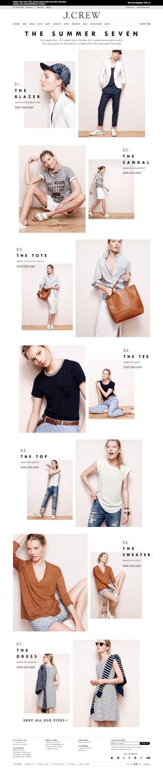 J.Crew The Summer Seven Email Newsletter Design