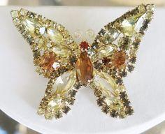 "Vintage Un Signed Weiss ""Book Piece"" Rhinestone Butterfly Brooch #Weiss"