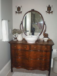 The Low Down On Bathroom Sink Ideas Small Vanities Exposed 63 Small Bathroom Furniture, Cheap Bathroom Vanities, Small Bathroom Sinks, Furniture Vanity, Bathroom Ideas, Dresser Vanity, Bathroom Organization, Modern Bathroom, Shiplap Bathroom