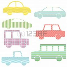 Vector set of car silhouettes with simple patterns