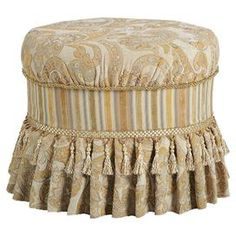 "Skirted vanity chair with tassel trim.    Product: Vanity chairConstruction Material: Polyester and woodColor: Ivory and yellowDimensions: 18"" H x 20"" W x 16"" D"