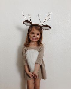 christmas costumes for halloween My little deer from this past weekends birthday partyI couldnt handle . Girl Deer Costume, Bambi Costume, Deer Costume For Kids, Animal Costumes For Kids, Deer Halloween Costumes, Diy Girls Costumes, Pirate Costume Kids, Christmas Costumes, Halloween Kids