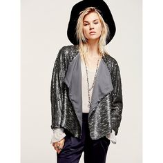 Free People Drippy Sequin Jacket. Sequin jacket with a drippy silhouette and drapey, uneven hem. Matte finish and allover texture for a cool day to night look. Fully lined. Bust: 33 in. Length: 21 in. Sleeve Length: 27 1/4. Sold out on Free People site. Free People Jackets & Coats Blazers