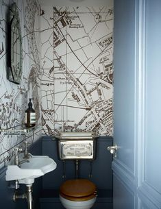 Modern Cloakroom Ideas: Cloakrooms & Powder Rooms Decor Inspiration They may be the smallest rooms in the house but they're perfect for experimenting with bold style & wallpaper. Get inspired by these modern cloakroom ideas Wallpaper Toilet, Bathroom Wallpaper, Map Wallpaper, Seaside Wallpaper, Graphic Wallpaper, Vanity Bathroom, Small Toilet Room, Guest Toilet, Toilet Room Decor