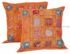 "2 Pcs Handmade Rajasthan Orange Cushion Cover Sofa Case Bed Home Decor 16"" IWUS #Handmade"