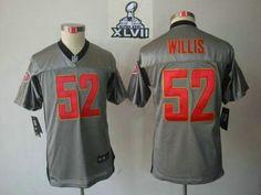 e187339b2df 2013 Fashion 2013 Super Bowl XLVII Youth Nike NFL San Francisco 49ers  52  Patrick Willis Grey Shadow NFL Jerseys